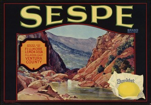 Sespe Brand: Grown and packed by Fillmore Lemon Assn., Fillmore, Calif., Ventura County