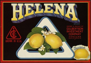 Helena Brand: Grown & packed by Culbertson Investment Company, Ventura, California