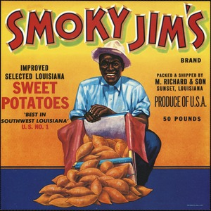 "Smoky Jim's Brand: Improved selected Louisiana sweet potatoes, ""best in southwest Louisiana,"" U. S. No. 1, packed & shipped by M. Richard & Son, Sunset, Louisiana, produce of U.S.A."