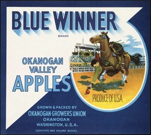 Blue Winner Brand: Okanogan Valley apples, grown & packed by Okanogan Growers Union, Okanogan, Washington, U.S.A.