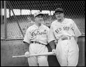 Mickey Cochrane (L) and Joe Cronin (R) at Fenway Park