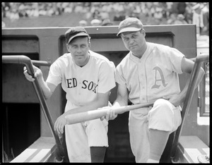 Jimmie Fox (A's) and Wes Ferrell (Red Sox) at Fenway Park