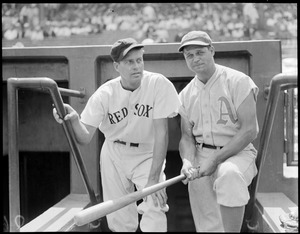 Jimmy Foxx - 16 - Philadelphia Athletics left and Wes Ferrell - pitcher Red Sox at Fenway Park