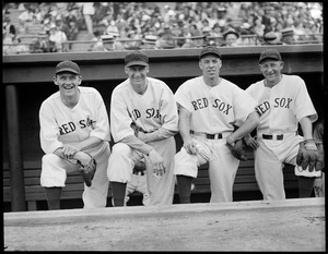 Four Red Sox players in dugout