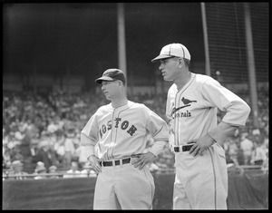 Lefty Grove of the Sox with the Cardinals Dizzy Dean at Braves Field for All-Star Game.