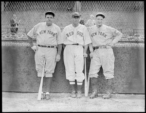 Babe Ruth and Lou Gehrig of the Yankees with Carl Reynolds of the Red Sox.