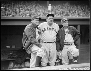 Babe Ruth in dugout with Joe Cronin of the Sox and his manager with the Braves Bill McKechnie