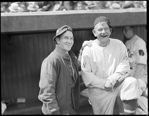 Rabbit Maranville of the Braves and Nick Altrock, coach for the Washington Senators, at Braves Field