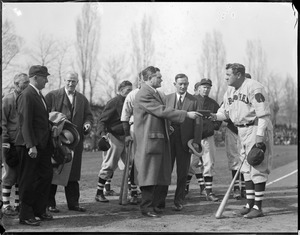 Babe Ruth as a Brave with Worcester Mayor John Mahoney
