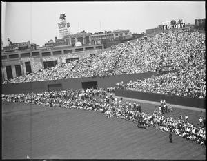 Fans in the outfield, Fenway Park
