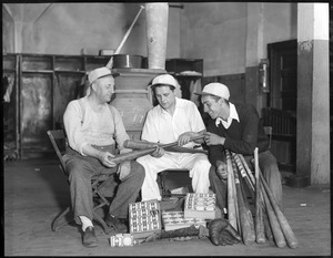 Red Sox trainer Bits Bierhalter, left, and his assistants, Moe Gottlieb, center, and John Orlando