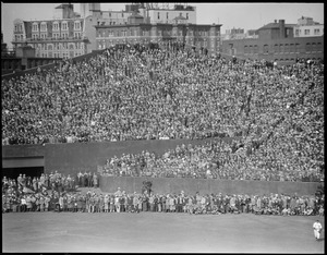 Crowd rings field, opening day at Fenway