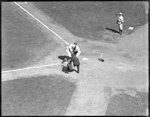 Ray Johnson, Red Sox, collides with Bill Dickey, Yankees. Dickey was knocked unconscious and dropped the ball, Johnson was safe. Throw was from Babe Ruth.