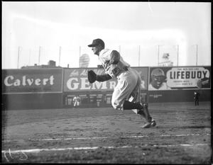 Lou Gehrig runs from the ball from first at Fenway Park