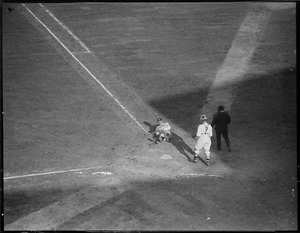 Babe Ruth goes down after a close shave from Red Sox pitcher