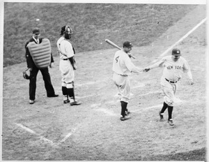 Babe Ruth of Yankees after homer in World Series