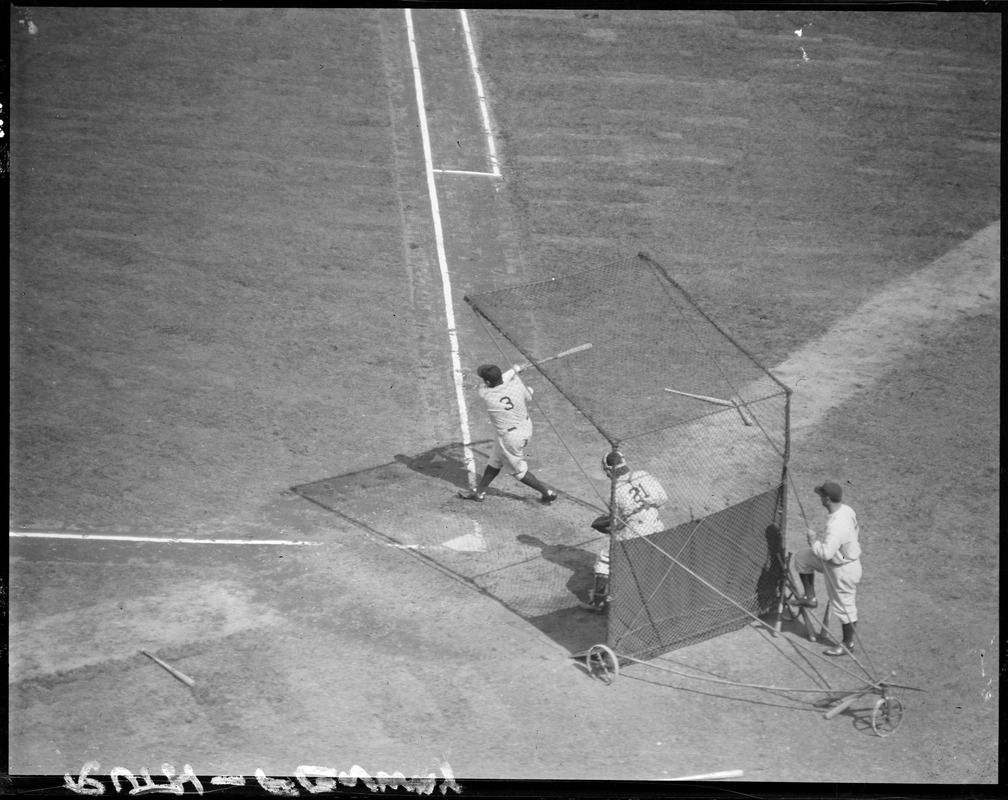 "The ""Babe"" during batting practice at Fenway during series with Sox"