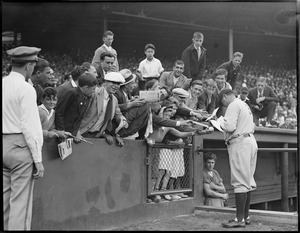 Babe Ruth signing autographs - Fenway Park