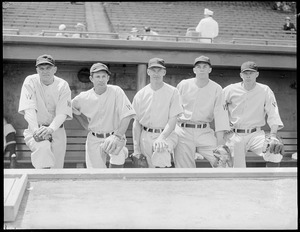 Star batters for the Senators, lined up in dugout at Fenway Heinie Manush, Cecil Travis, Johnny Stone, Buddy Myer and Joe Kuhel