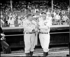 Yankees manager McCarthy with Cubs manager. 1936 All-Star Game
