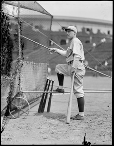 Albie Booth of Yale takes batting practice at Harvard