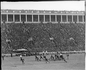 Action during Harvard-Yale game, Harvard Stadium