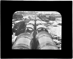Distribution Department, train load of 48-inch pipe, Camden Iron Works, Mass., ca. 1895-1899