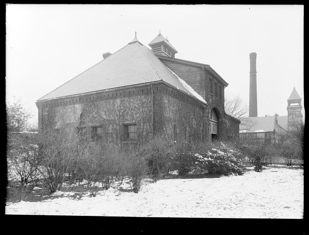 Distribution Department, Chestnut Hill Reservoir, stone stable, side and front view looking towards Chestnut Hill High Service Pumping Station, Brighton, Mass., Nov. 27, 1920
