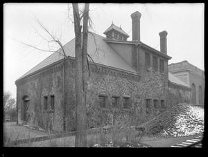 Distribution Department, Chestnut Hill Reservoir, stone stable, side and front view looking towards Chestnut Hill Low Service Pumping Station, Brighton, Mass., Nov. 27, 1920