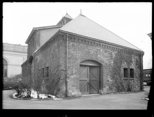 Distribution Department, Chestnut Hill Reservoir, stone stable, side and rear view looking towards Chestnut Hill Low Service Pumping Station, Brighton, Mass., Nov. 27, 1920