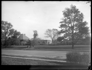 Distribution Department, Chestnut Hill Reservoir, work on English Elm trees along Beacon Street; looking towards garage and stone stable; laborers trimming, Brighton, Mass., Nov. 1920-1921