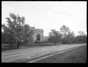 Distribution Department, Chestnut Hill Reservoir, work on English Elm trees along Beacon Street; looking towards Chestnut Hill Low Service Pumping Station, Brighton, Mass., Nov. 1920-1921