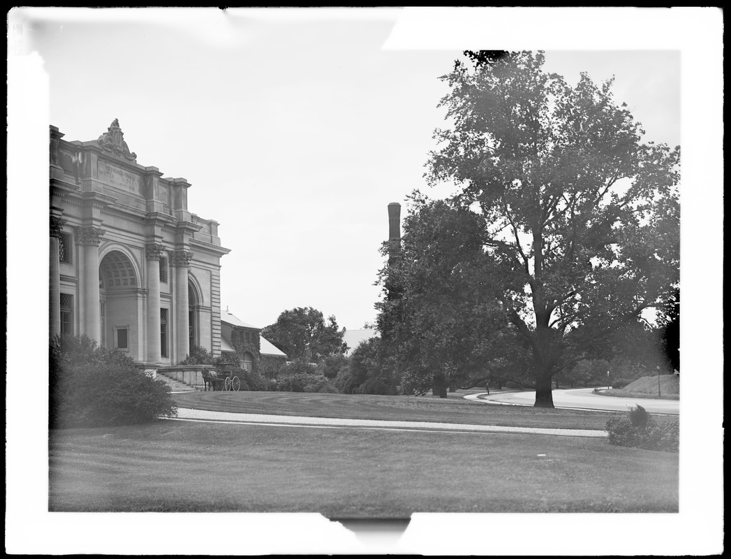 Distribution Department, Chestnut Hill Reservoir, work on English Elm trees along Beacon Street; looking towards Chestnut Hill Low Service Pumping Station and Garage, Brighton, Mass., Nov. 1920-1921