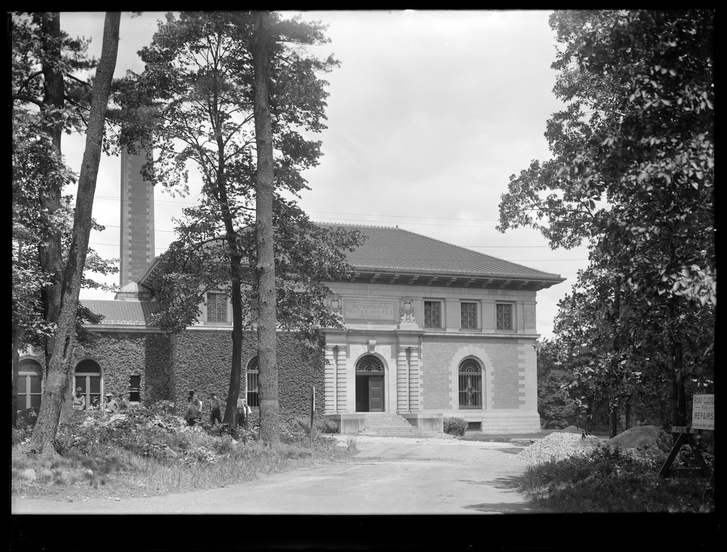 Distribution Department, Northern High Service Spot Pond Pumping Station, looking towards front of station, Stoneham, Mass., Jun. 14, 1921