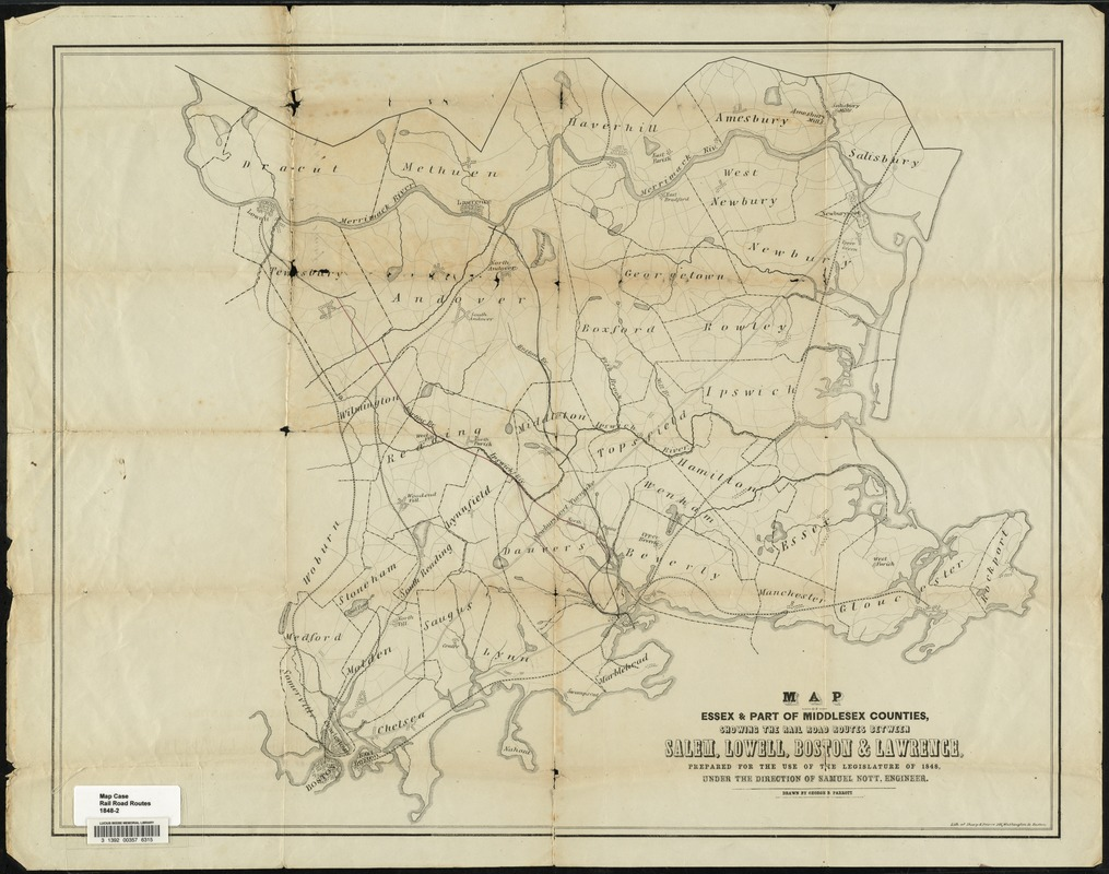 Map of parts of Essex & part of Middlesex counties, showing the rail road routes between Salem, Lowell, Boston & Lawrence