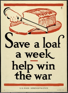 U. S. Food Administration War Ration Poster, World War I