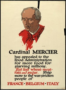 Cardinal Mercier Food Rationing Poster, World War I