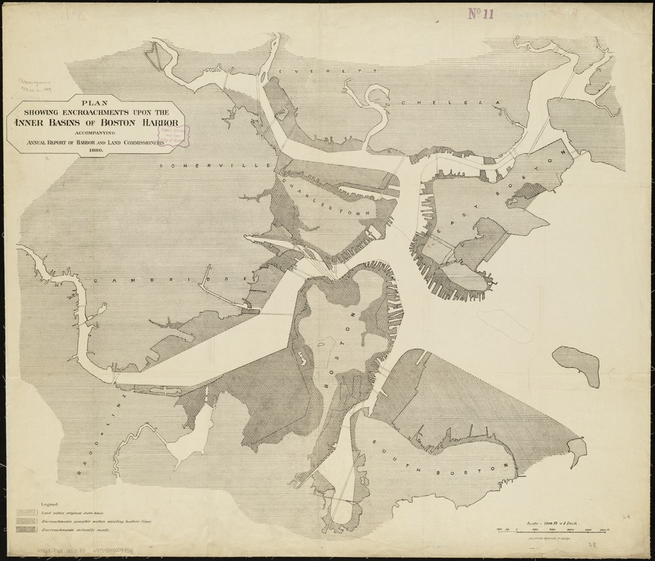 Plan showing encroachments upon the inner basins of Boston Harbor