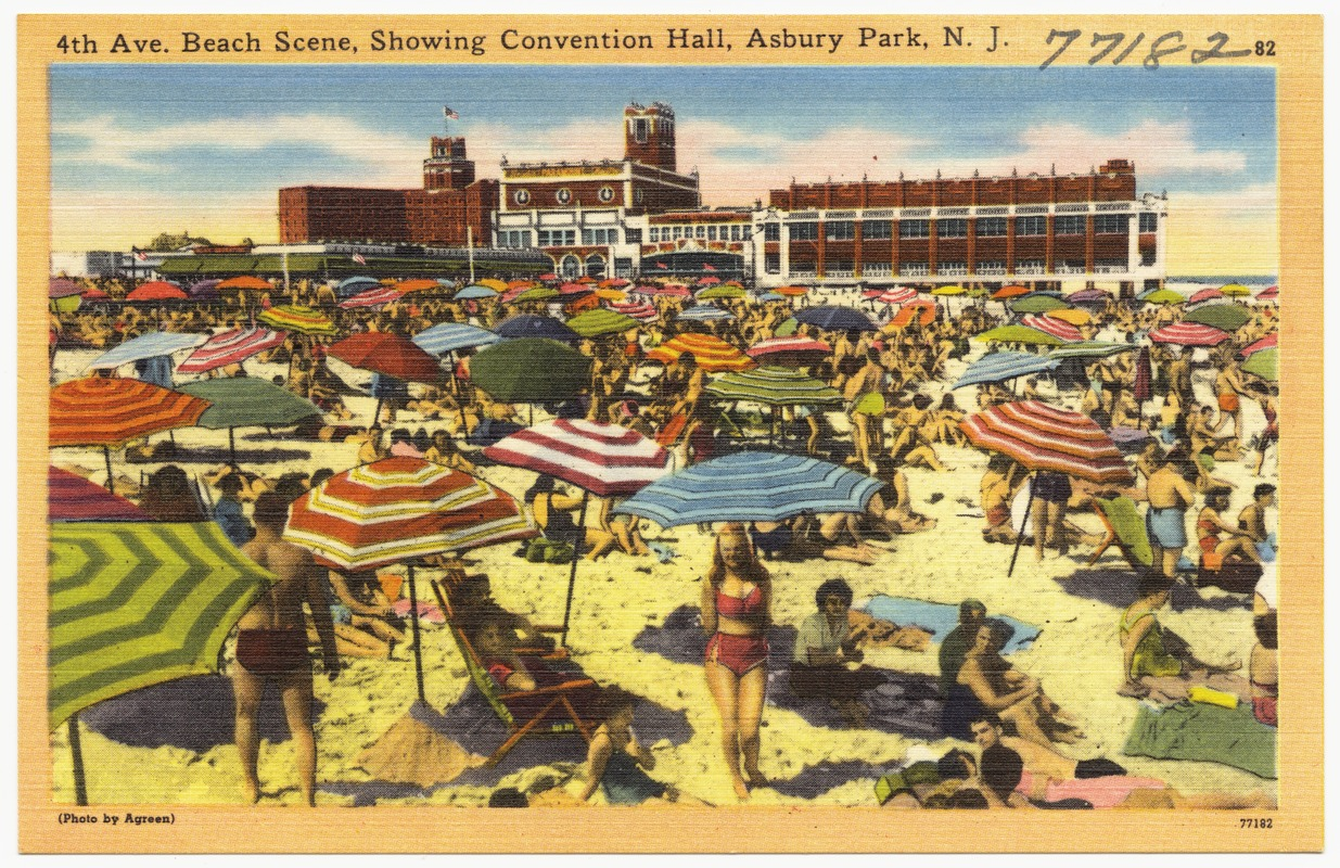 4th Ave. beach scene, showing convention hall, Asbury Park, N. J.