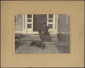 """Woman sitting on porch with black Scottish Terrier and Great Dane, """"Etzel"""""""