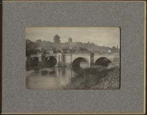 View of arched stone bridge over river