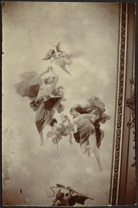 Three photos of ceiling or wall mural (allegorical, neoclassical style)