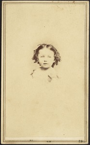 "Young girl, dark hair, short ringlets, possibly Harriet ""Hattie"" Armington Brown"