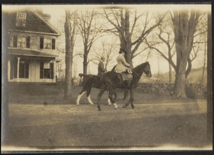 Ashdale Farm. Otto and Gertrude Kunhardt on horseback in front of main house