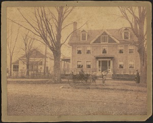 Ashdale Farm. Early photo of Gertrude Stevens in horse and buggy in front of main house; barn on left; woman standing near tree on far right.
