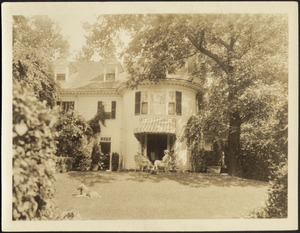 Ashdale Farm. Rear view of main house, patio (John and Helen seated in chairs).