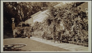 Ashdale Farm. View of Rose Garden and greenhouse; garden furniture
