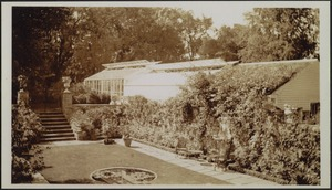 Ashdale Farm. View of Rose Garden and greenhouse; garden furniture; stairs