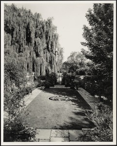Ashdale Farm. View of Rose Garden looking towards gate entrance, willow trees on left