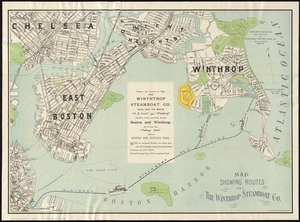 Map showing the routes of The Winthrop Steamboat Co